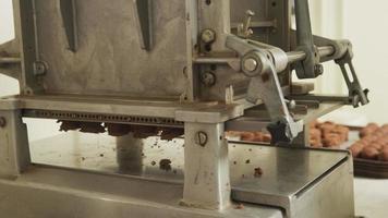 Hacer trufas de chocolate en una fábrica de dulces. video