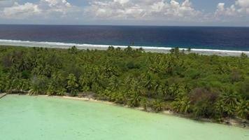 Vista aérea de la laguna y la playa en bora bora, polinesia francesa. video