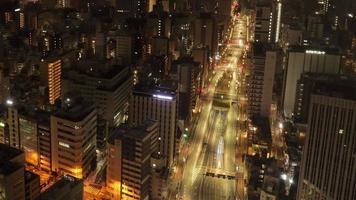 Tokyo, Japan circa-2018.  Night to morning time lapse shot of downtown Tokyo, Japan. video