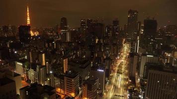 Tokyo, Japan circa-2018.  Night time lapse shot of downtown Tokyo, Japan. video