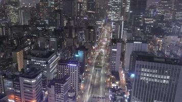 Tokyo, Japan circa-2018.  Night time lapse shot of downtown Tokyo, Japan streets. video