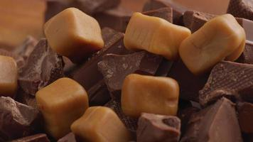 Chunks of chocolate with caramel candy video