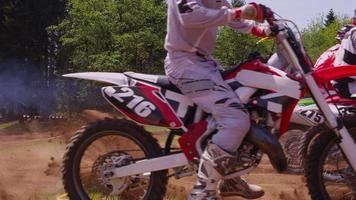 Motocross racers at starting gate 4K fully released video