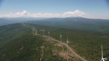 vista aérea de aerogeneradores. video