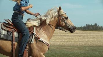 Closeup of woman horseback riding in super slow motion, shot on the Phantom Flex 4K at 1000fps video