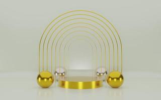 Minimal scene background with gold podium and gold line 3d rendering photo