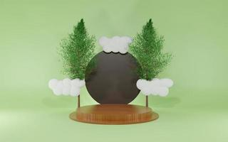 3d rendering minimal scene with podium trees and clouds isolated green color photo