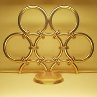 Minimal scene with gold podium and ring 3d rendering photo