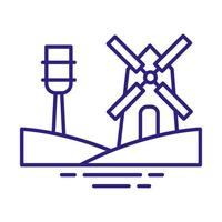 windmill building line style icon vector