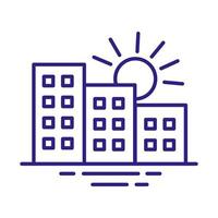 buildings constructions facades with sun city line style icons vector