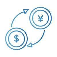 coins dollar and yen with arrows gradient style vector