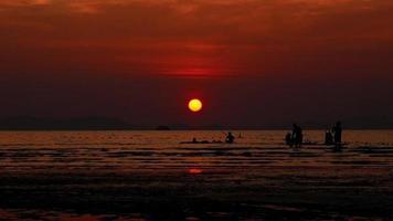 Silhouette people enjoy canoeing kayaking surfing island sunset video