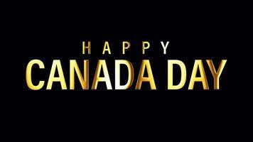 joyeuse fête du canada texte doré isolé boucle de lumière video
