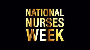banner isolado de texto dourado da semana nacional de enfermeiras em loop video