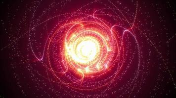 partículas de oro rosa brillantes girando animación de bucle giratorio video