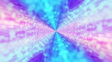 Raios de néon digital de rotação de loop 3d azul roxo video