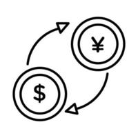 coins dollar and yen with arrows line style vector