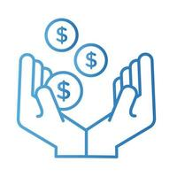 hands with coins money dollars payment online gradient style vector