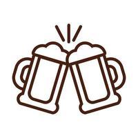 beer jars drink international day line style vector