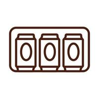 beer cans drink international day line style vector