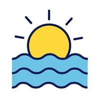 línea de escena de sol y océano e ícono de estilo de relleno vector