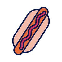 delicious hot dog line and fill style icon vector