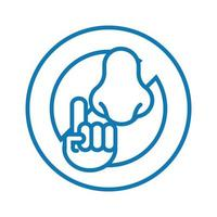 dont touch nose line style icon vector