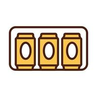 beer cans drink international day line and fill style vector
