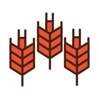 línea de espigas de trigo e icono de estilo de relleno vector