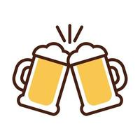 beer jars drink international day line and fill style vector