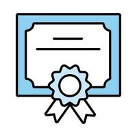 diploma graduation certificate line and fill style icon vector