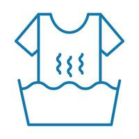 washing clothes line style icon vector