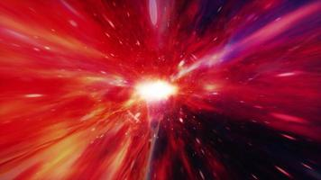 Colorful red hyperspace tunnel through space time vortex video