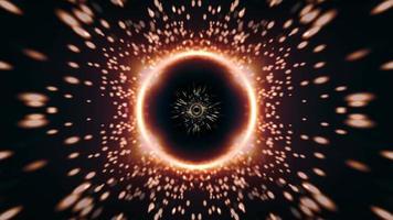 guldring lysande partiklar gnistor ljusstrålar rotation video