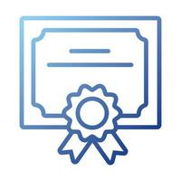 diploma graduation certificate gradient style icon vector