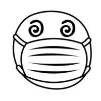 emoji crazy wearing medical mask line style vector