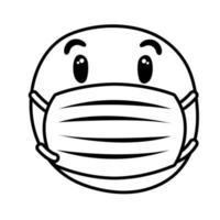 emoji preocupado usando estilo de línea de máscara médica vector