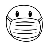 emoji frozen wearing medical mask line style vector