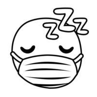 emoji dormido con estilo de línea de máscara médica vector