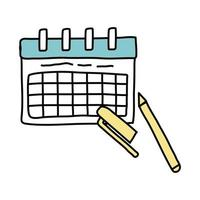 calendar reminder with marker free form style icon vector