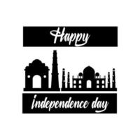 india independence day celebration with taj mahal mosque silhouette style vector