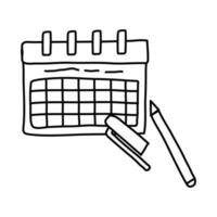 calendar reminder with marker line style icon vector