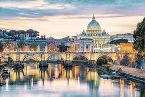 The city of Rome at sunset photo