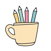 pencils holders free form style icon vector