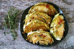 Baked cabbage slices photo