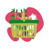 groceries in plastic basket block style vector