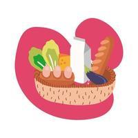 groceries in straw basket block style vector