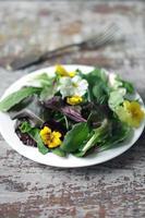 Mezcla de ensalada con flores en una placa blanca. foto