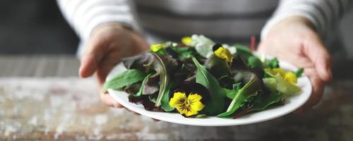 Healthy salad with flowers on a plate photo