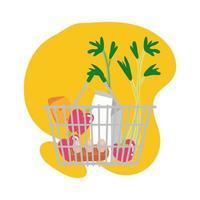 groceries in metalic basket block style vector